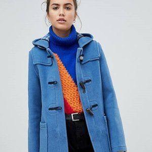 GU JAPAN Blue Wool Blend Hooded Duffle Coat